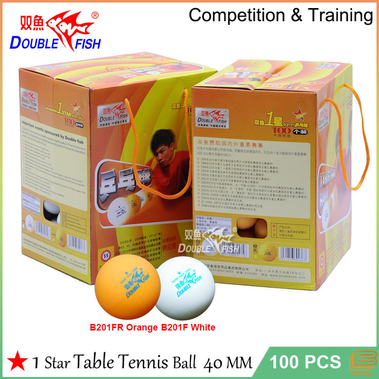 100 pcs lot white orange high quality double fish b201f for 1 star table tennis balls