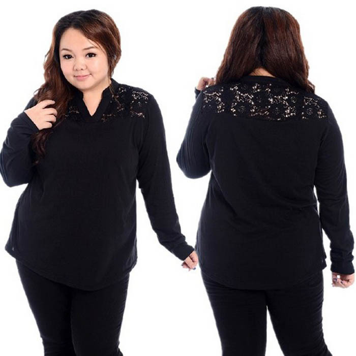 2014 fashion fat women big size sexy lace long sleeve t for Thick white shirt womens