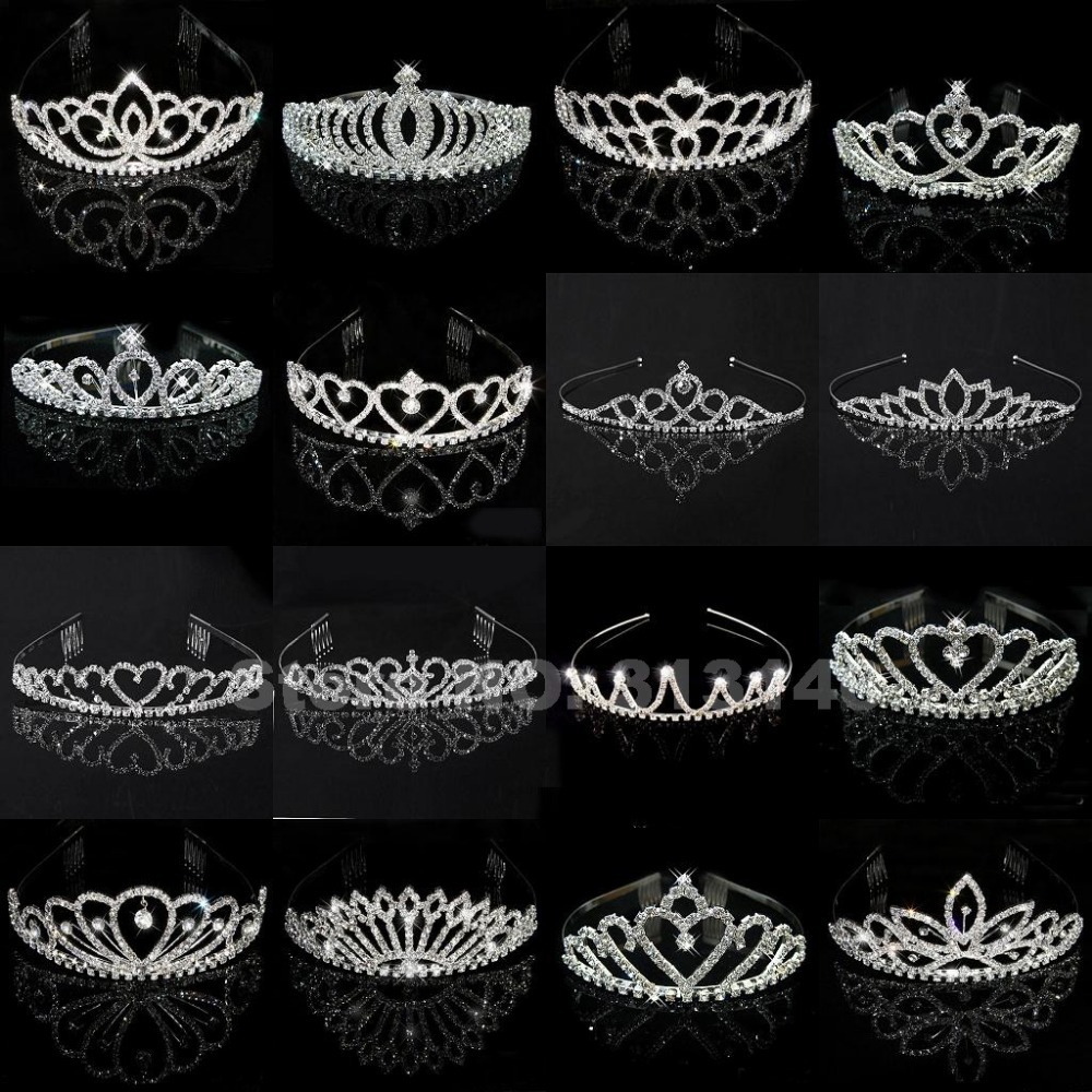 Wholesale Bridal Wedding Crystal Rhinestone Crown Heart Crown Pageant Silver Plated Women Children Tiaras Hair Comb Headband(China (Mainland))