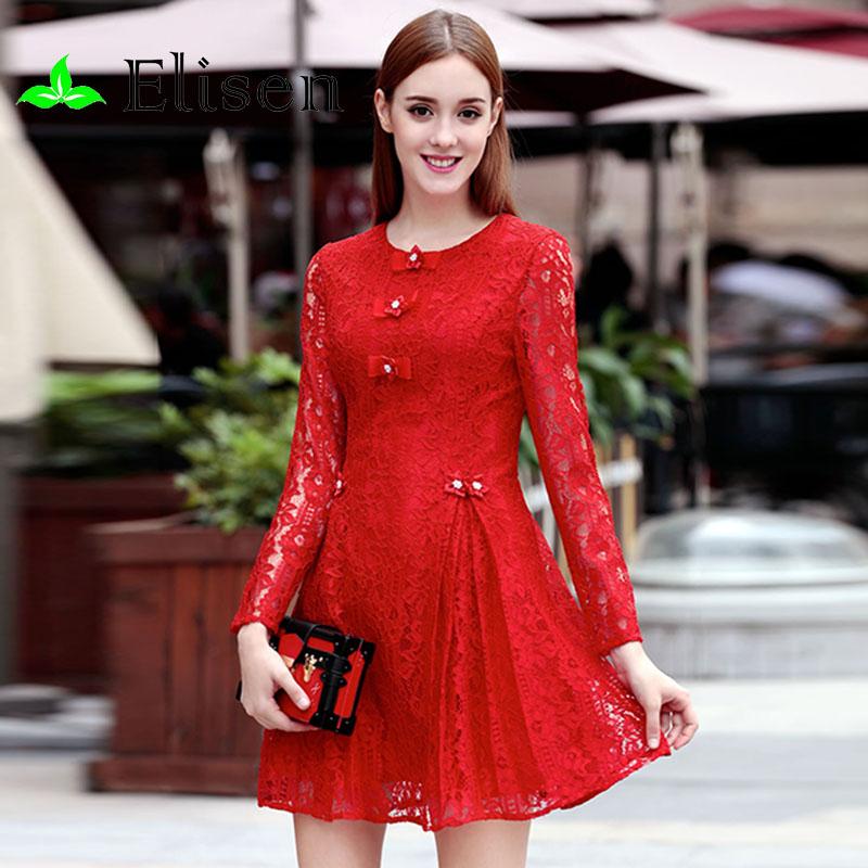 Red Women Dress New 2016 Spring Fashion Brand Runway Full Sleeve Elegant Novelty Beading Lace Mini DressОдежда и ак�е��уары<br><br><br>Aliexpress