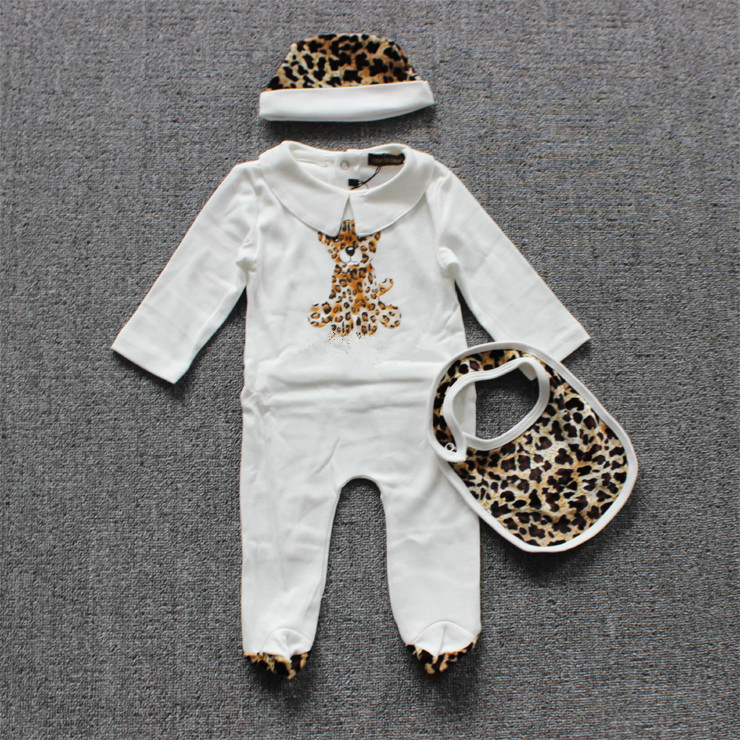 Beautiful Brand Baby Girl Boy Rompers Leopard Newborn Jumpsuits Baby 3PCS Clothing ( Hat + Bib + Romper) Infant baby(China (Mainland))