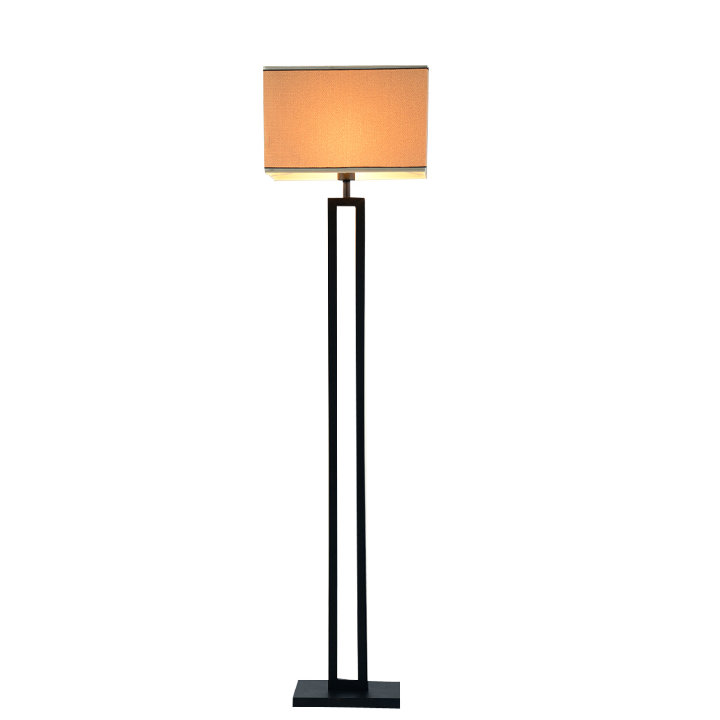 Chinese modern black floor lamp flaxen fabric lampshade for Living lighting floor lamps