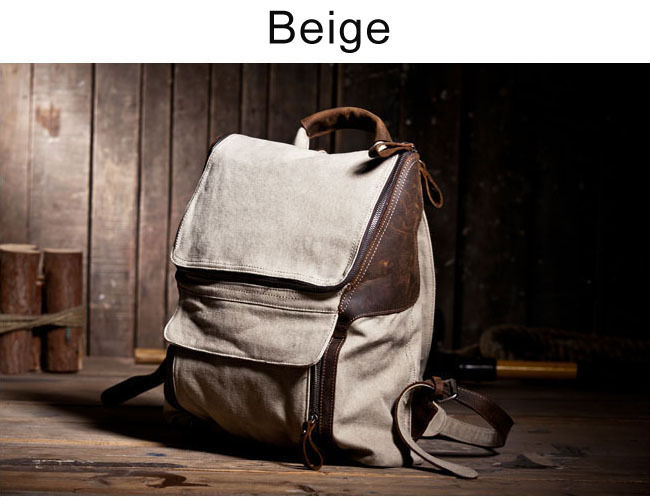 Cowhide leather backpack double-shoulder canvas casual leather bag school campus student book laptop bag(China (Mainland))