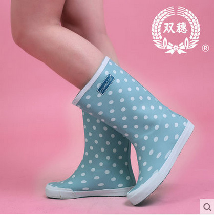 Дамы Середины икры Сапоги Дождь Женские Горошек Резиновые Сапоги Женщины Дождь обувь Женская Короткие Резиновая Резиновые Ботинки Бесплатная Доставка