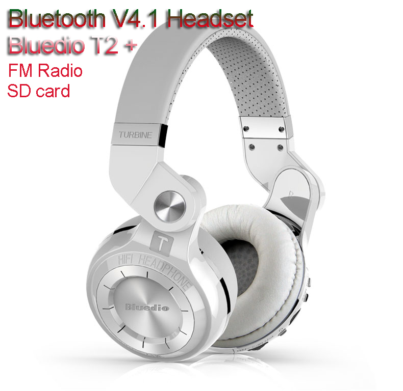 SD card FM Radio 100% Genuine original Bluedio T2+ Bluetooth V4.1 Headset wireless Headphones 57mm Powerful Bass Stereo with mic(China (Mainland))