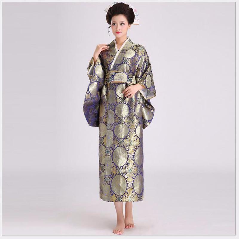 Vintage Female Silk Satin Kimono Women Sexy Yukata With Obi Performance Dance Dress Japanese Cosplay Costume One SizeОдежда и ак�е��уары<br><br><br>Aliexpress