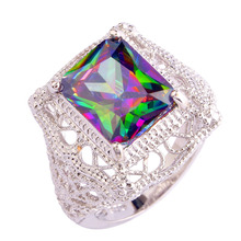 2016 Women Mysterious Rainbow Topaz AAA Silver Ring Size 6 7 8 9 10 11 New Fashion Jewelry Gift Wholesale Free Shipping(China (Mainland))