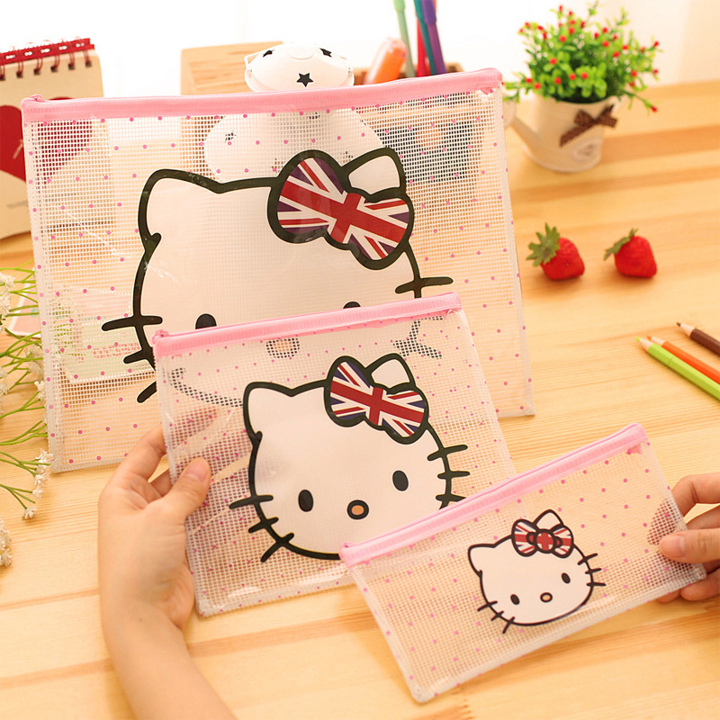 Cute hello Kitty A4 File Bag Document Bag File Folder Stationery Filing Production School Office Supply Children's pencil case(China (Mainland))