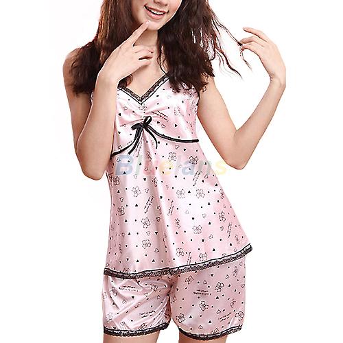 NewNew Womens Sexy Imitated Silk Lace V neck Braces Shirt Pants Sleepwear Pajamas Shirts Pants 0IRB