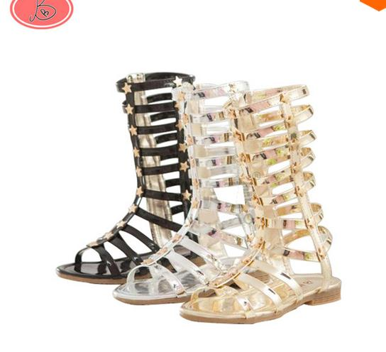 Hot Infant/Toddler/Kid/Children Fashion Gladiator Sandals Black/Silver/Golden Baby Girl Summer Boots 2-9Years Sapatos Infantil(China (Mainland))
