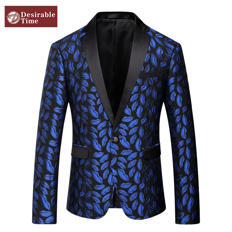 Mens Royal Blue Printed Blazer Pattern Slim Fitted Prom Blazers Men One Button Suit Jacket Stage Costumes For Singers DT080(China (Mainland))
