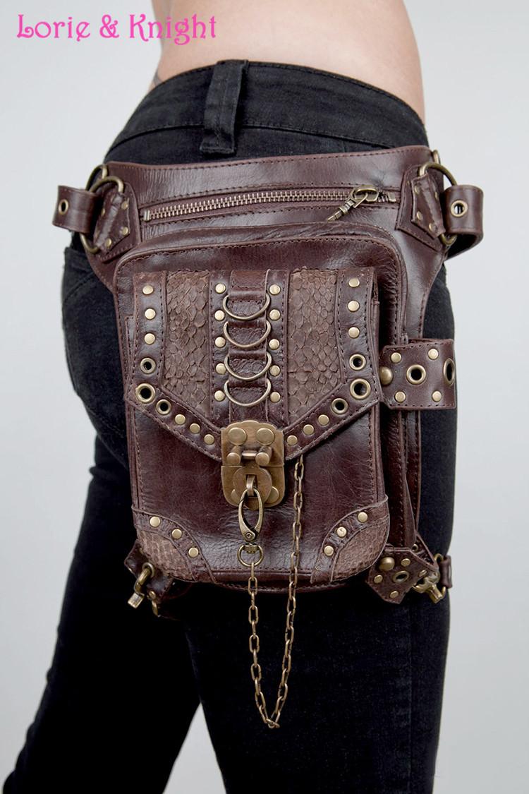 Personality Women/Men Brown Leather Steampunk Mini Waistbag Motorcycle Leg Thigh Holster Bag Crossbody Bag<br><br>Aliexpress