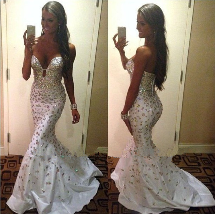 2014 Real Sample Mermaid Sweetheart Shiny Crystals Full Heavy Beaded Evening Party Gown In Turkey Stones diamond prom dresses(China (Mainland))