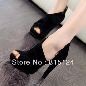 2015 new European and American fish head high heels waterproof Taiwan fine with the hollow deep black singles shoes