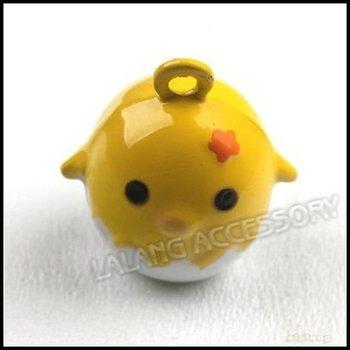 15pcs New Cute Yellow Cartoon Chicken Copper Metal Jingle Bells For Children Christmas Gift 15.5mm 270100