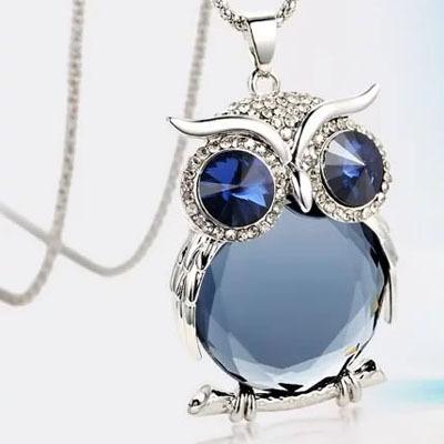 Aliexpress Hot Sale 4Style Vintage Crystal Owl Necklace Long Chain Zinc Alloy Pendant Necklace Fashion 2015