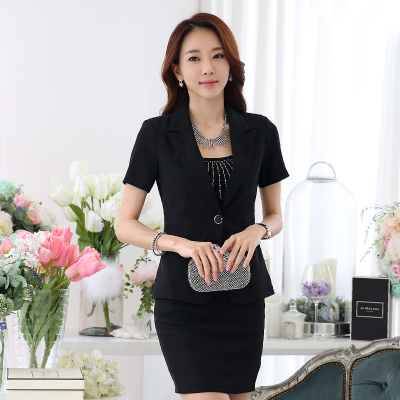 2016 Summer New Occupation Fashion Suit Slim Short Sleeved Interview Women Office Uniform Designs For Women Ladies Skirt Suit(China (Mainland))