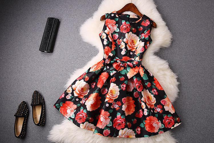 2015 new womens spring summer dress print bow beach dresses YMT028Одежда и ак�е��уары<br><br><br>Aliexpress