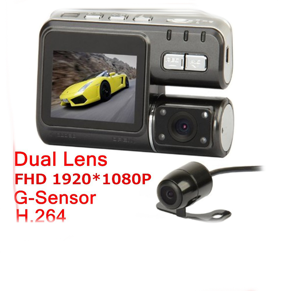 i1000 Dual Lens Camcorder Car DVR Dual Camera HD 1080P Dash Cam Black Box With Rear 2 Cam Vehicle View Dashboard Cameras(China (Mainland))