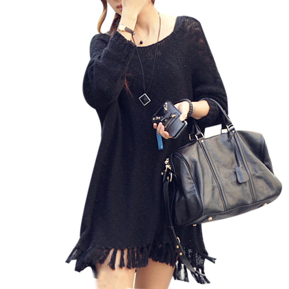 2015 New Autumn Winter Fashion Tassel Dress Women Full Sleeve Knitted Sweater Loose Vestidos Black/Beige Solid Color Hot Sale(China (Mainland))