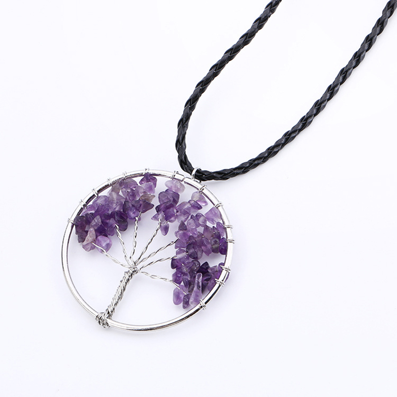 Silver Color Life Tree Pendant Necklace Natural Crystal Semi Precious Stone Pink Purple Blue Charm Women Choker Jewelry(China (Mainland))