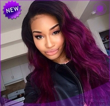Free shipping 1b to purple two tone ombre heat resistant wavy synthetic lace front wig(China (Mainland))