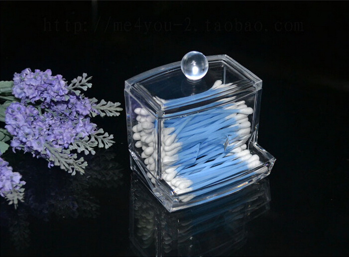 Plastic Storage Box Acrylic Cosmetic Storage Box Cotton Swab Container Transparent Cosmetic Storage Bottle(China (Mainland))