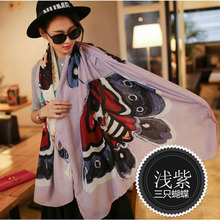 SC2 2016 Printed Luxury Butterflies Cotton Tassels Autumn Warm Designer Scarf Women,Vintage Female Shawl Elegant Wraps(China (Mainland))