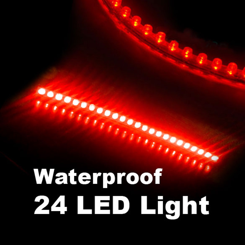 Waterproof 24 LEDs Flexible Auto Car Decorative LED Strip Light 24cm Red LED Lights for car, truck, boat, motorcycle(China (Mainland))