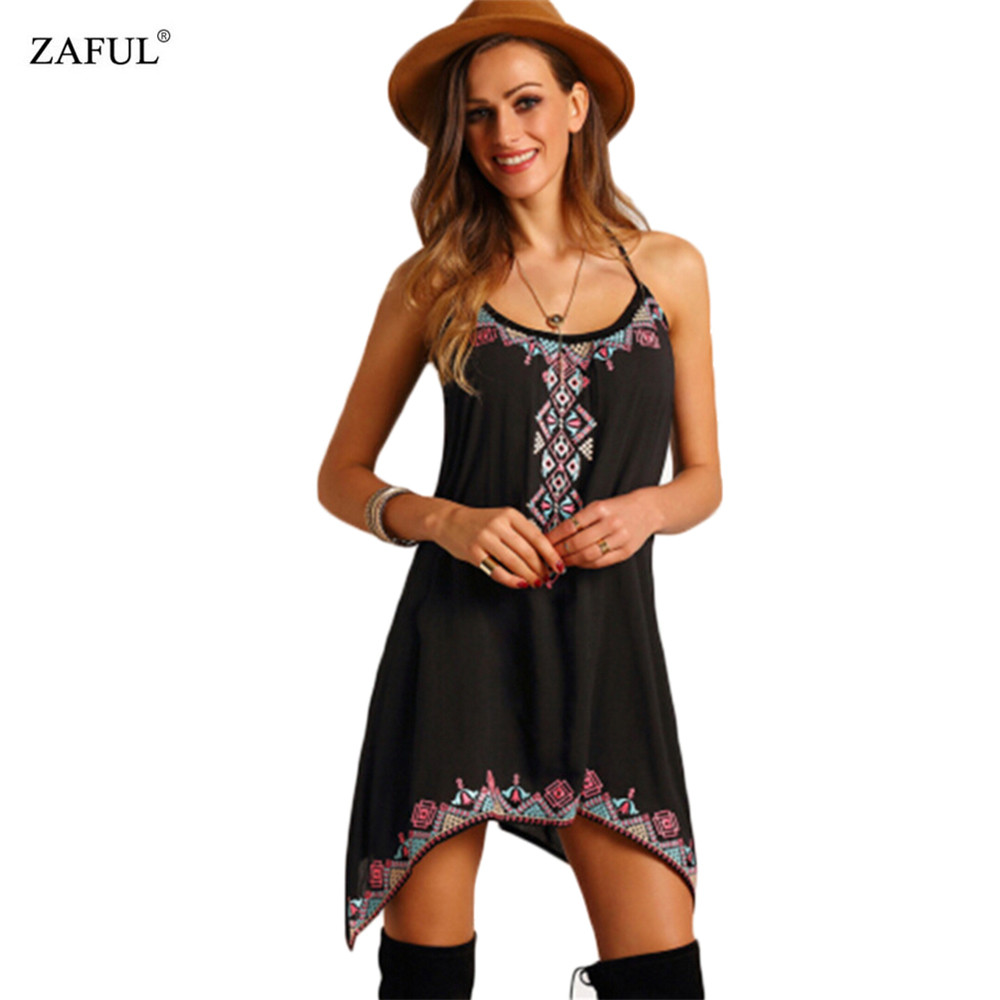 ZAFUL Summer Women clothing Sexy Bohemian Boho Dress Spaghetti Strap O neck Ethnic Print Woman Mini Dresses Feminino Vestidos(China (Mainland))