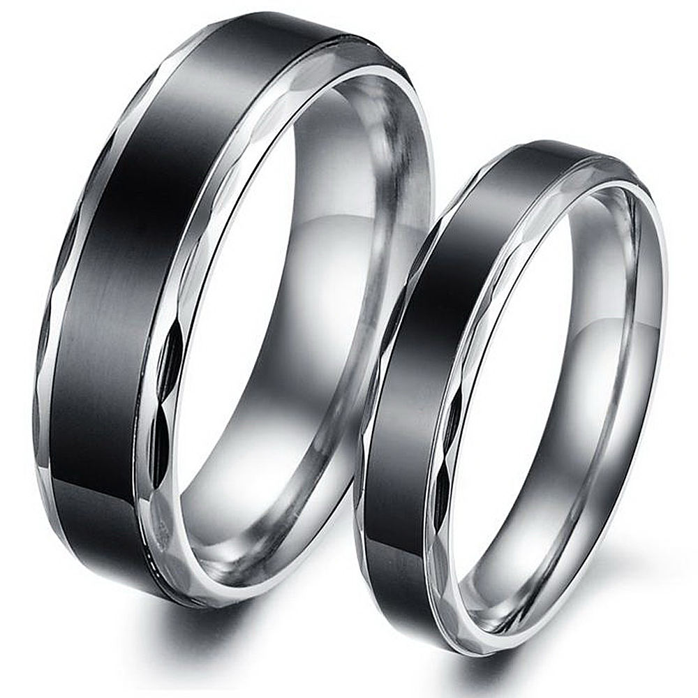 stainless steel jewelry his and hers anniversary couple ring unique black engagement rings set for lovers - His And Hers Wedding Rings Cheap