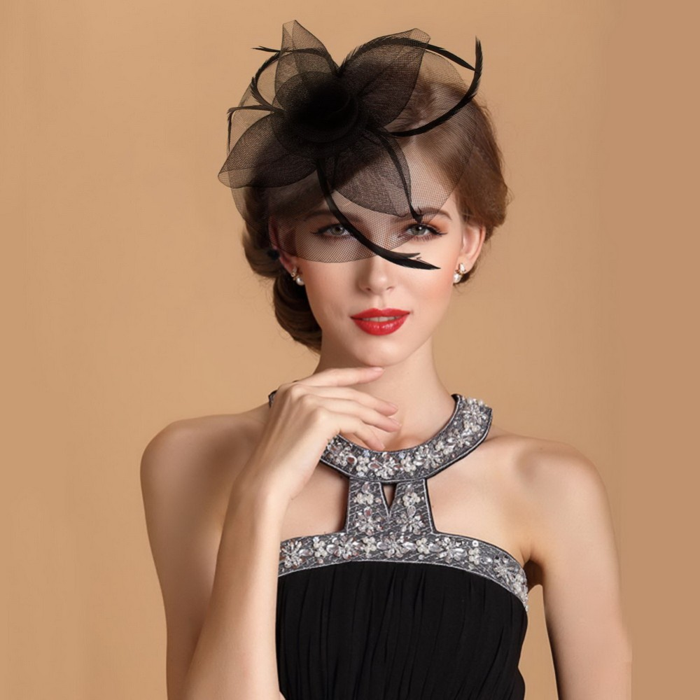 4PCS/lot Fashion show Many Colors Elegant Church Kentucky Derby Feather Fascinator Hat Wedding Hair Decoration Accessories HOT!(China (Mainland))