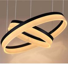 2015 New  modern Acrylic LED Chandelier Light Fixture,Designer LED Large Pendant Lamp Black Ring Lighting for Hotel Project(China (Mainland))