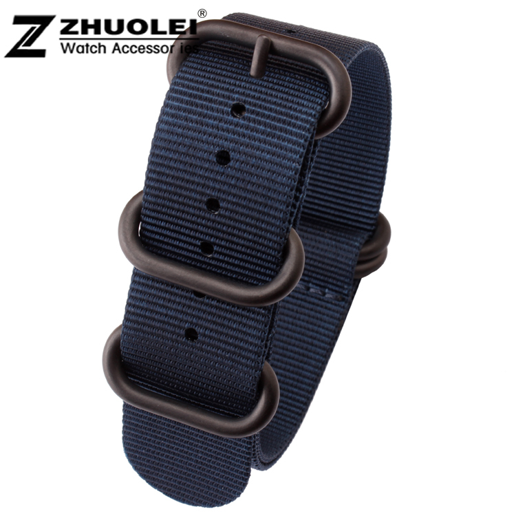 New 22mm 24mm ZULU NATO Bule Military Watch Strap Band Strong Heavy Duty Nylon Divers Brushed Buckle Free Shipping(China (Mainland))