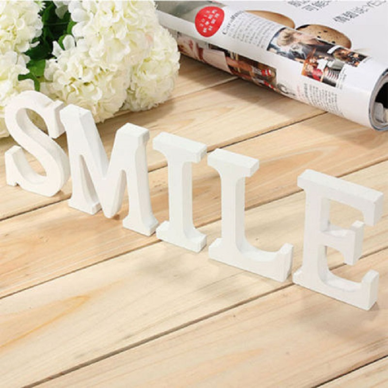 1pc Home Decor Decoration Wood Wooden White Letters Alphabet Wedding Birthday(China (Mainland))