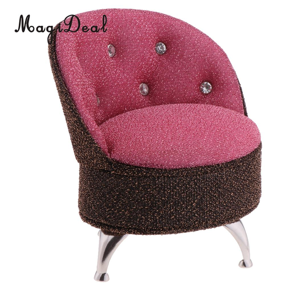 1/6 Scale European Style Single Sofa Chair with Rhinestone Dolls House Bedroom Living Room Furniture Decoration Model Toy
