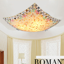 Smart American Country Square Ceiling Lamp With Shell Shape For Balcony or Sitting Room Ceiling Light Home Decorative Lighting(China (Mainland))