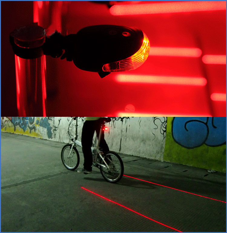 Free Shipping Best Mountain Country Vehicle Security Caution Lamp Bicycle Laser Taillight 5 LED Parallel Lines No Battery <br><br>Aliexpress