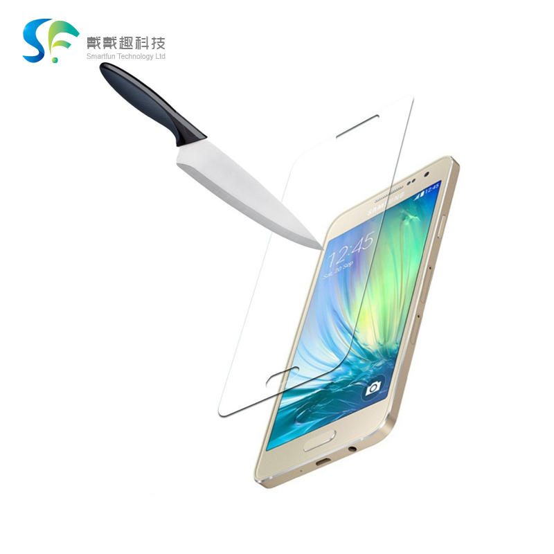 Super thin 0.33mm hard 9H glossy clear anti shatter oil free front display guard protector foil for Samsung Galaxy A3(A3000)(China (Mainland))