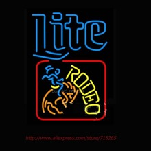 miller Lite Rodeo Neon Sign Beer Sign Handcrafted Neon Bulbs Real Glass Tube Personalized  Design Store Display 31x24(China (Mainland))