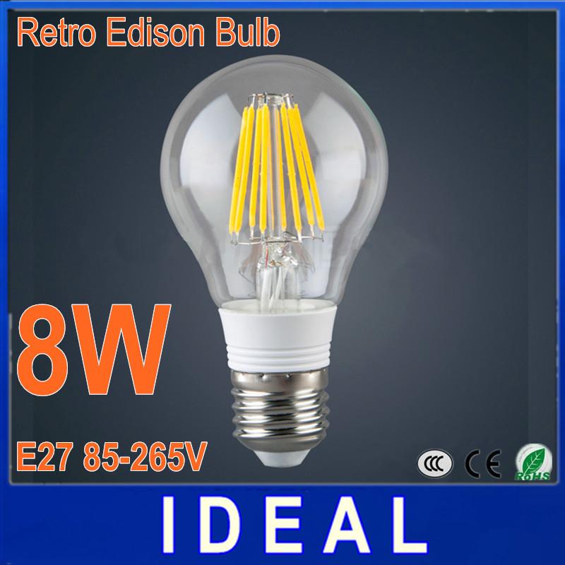 New Design Edison Led Lamp E27 Dimmable 4W 6W 8W Led Filament Bulb E27 110V 220V Warm White 360 Degree Energy Saving Led Light(China (Mainland))