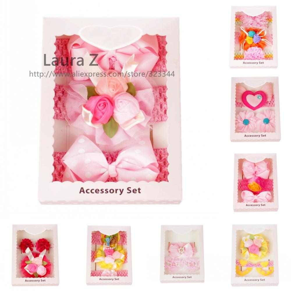 Free Shipping 3pcs/set hair elastic bands ribbon bow kids infant baby girls head wraps accessory headbands satin flower headwrap(China (Mainland))