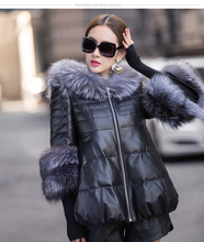 Imitation fur fabrics 2015 PU leather large size winter coat hot-selling products(China (Mainland))