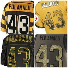 Wholesale 2016 Mens New Jerseys White Black Red Green Gray Polamalu 43 Size XXXL(China (Mainland))
