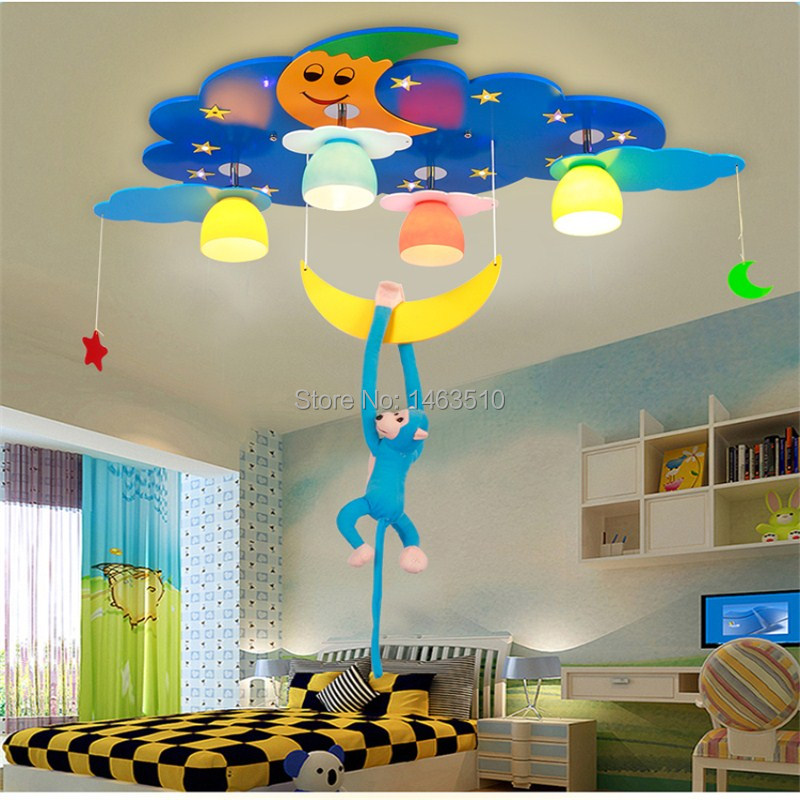 Kid's Room Lighting monkey&moon&Star Ceiling Lights Child Bedroom Cartoon 4 Lamps+LED for Living Room Home Decoration E27(China (Mainland))