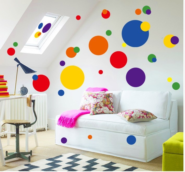 Colorful circle wall sticker bathroom kitchen 7158 decorative removable pvc wall decals home decor(China (Mainland))