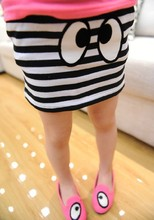 Free shipping 100% cotton children skirts with big eyes print fashion casual striped Girl skirts(China (Mainland))