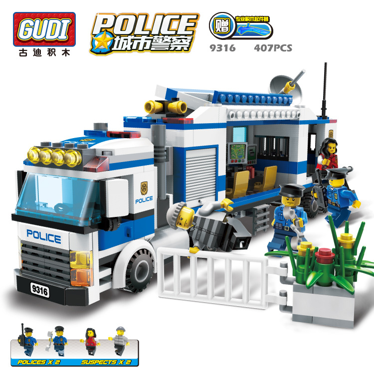 GUDI Police Series City Mobile Command Vehicle Building Block Bricks Toys for Children Legoelieds(China (Mainland))