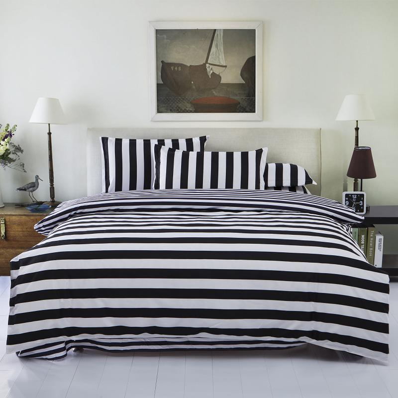 Black White Striped Bedding Sets 3pcs or 4pcs Bed Set Include Duvet Cover Bed Sheet Pillow Case(China (Mainland))