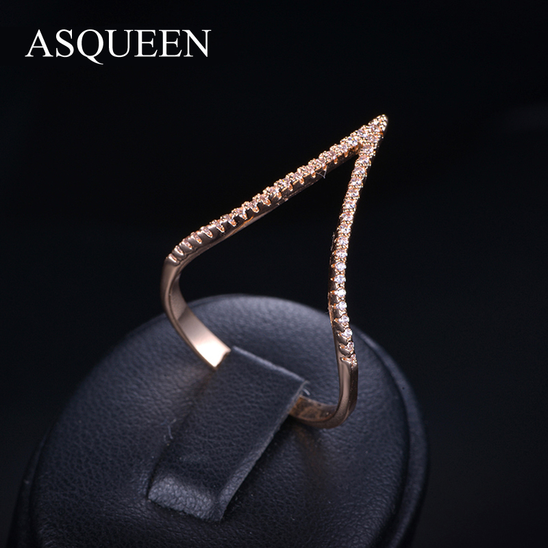 UMODE Brand Fashion Jewelry Stores Rose Gold/Platinum Plated Knuckle V Shaped Finger Rings For Women Ring With AAA+ CZ AUR0053<br><br>Aliexpress